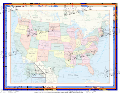 ScrapSMART US Map Horizontal Label Downloadable - Horizontal us map